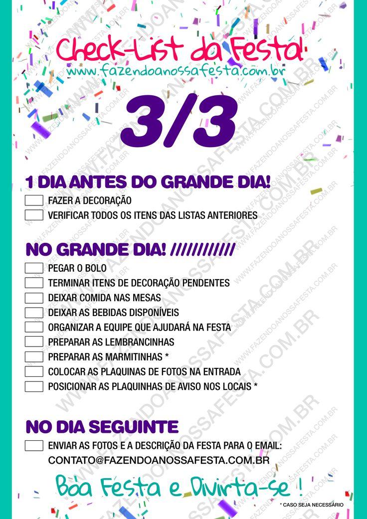 Check List - Organizando a Festa - 3