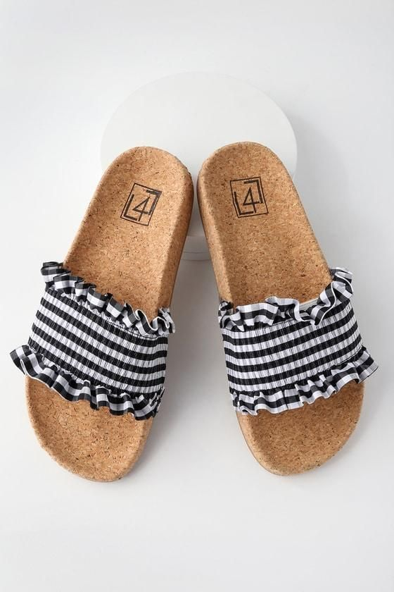 459694c43 striped slides. love these Gingham Shoes