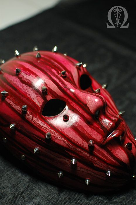 Bleeding mask with spikes satin finish by PROSOPEION on Etsy. Fiberglass mask.