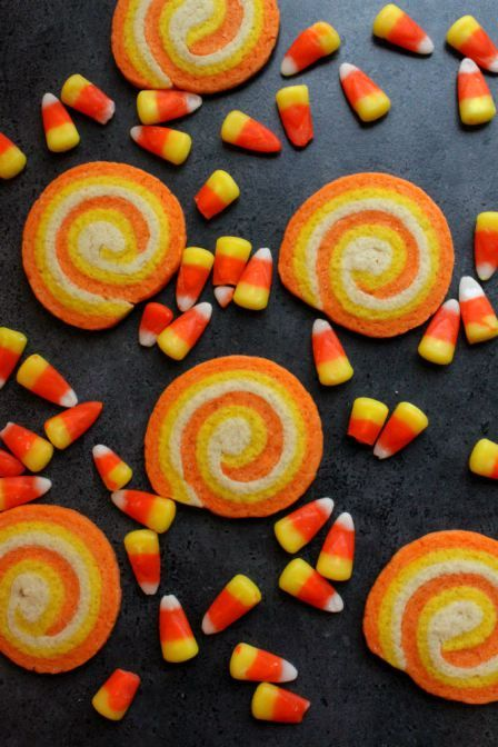 Candy corn swirl cookies. Make these simple swirl cookies for your next Halloween party! Find the recipe here!: