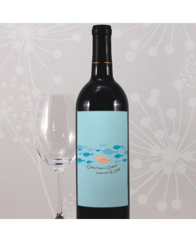 Fish in the Sea Wedding Wine Label www.mybridalsupply.com