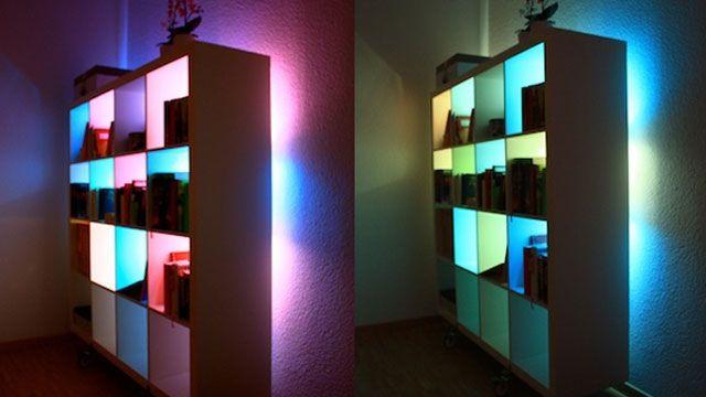 Custom Color Changing Lights    Ikea Bookshelf + LEDs + Arduino