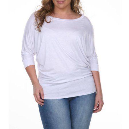 White Mark Women's Plus Size Dolman Top, Size: 2XL