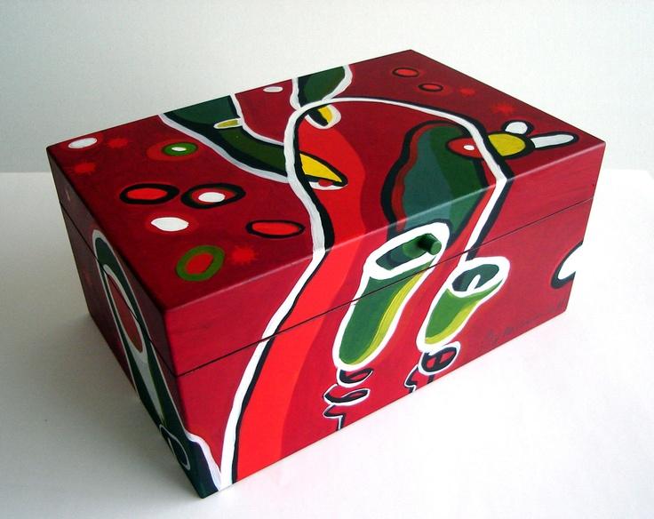 Caja de madera pintada a mano por artista chilena pieza - Cajas de madera pintadas a mano ...