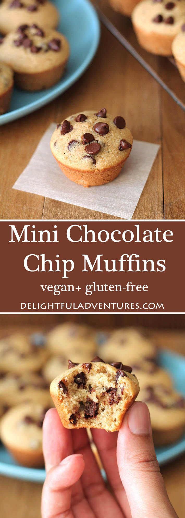 An easy recipe for gluten-free vegan Mini Chocolate Chip Muffins that you can have ready in just under 30 minutes! via @gwenleron