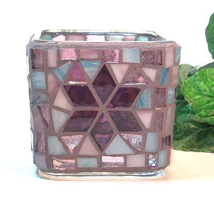 Stained glass mosaic votive candle holder by threesisterscandles