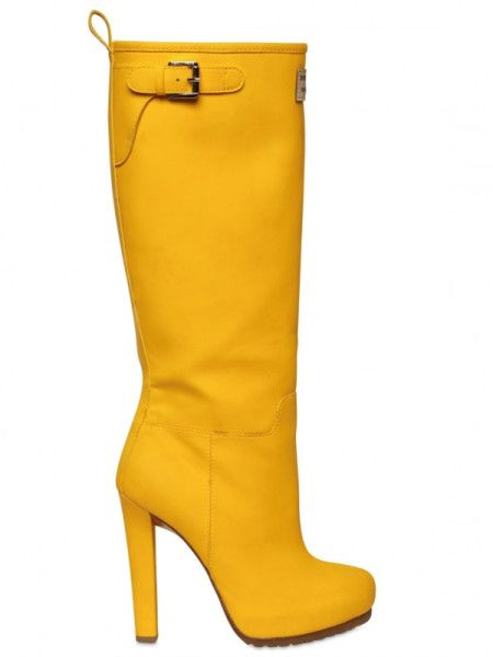 Dsquared² 120mm Wellington Leather Boots in Yellow