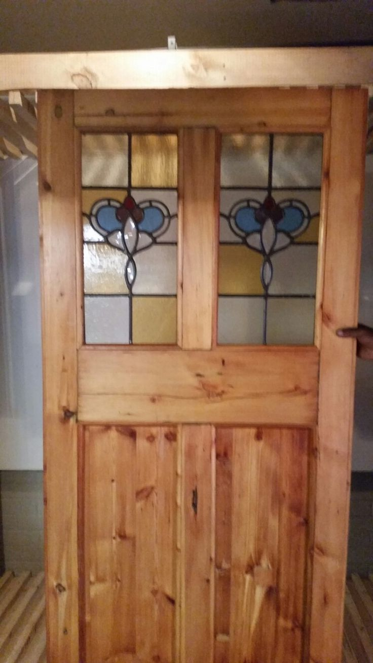 4 panel door made new from ee-cycled Oregon Pine timber.  New Stained glass