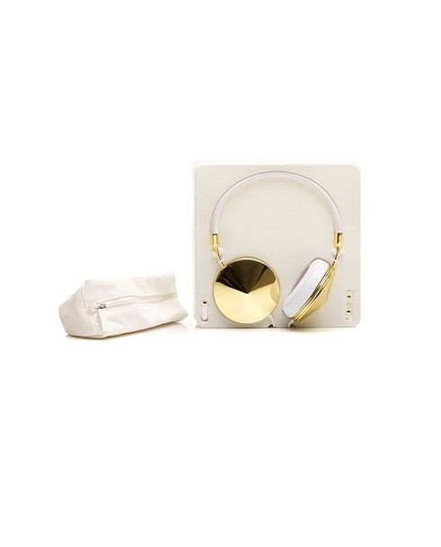 "FRENDS HEADPHONES""THE TAYLOR"" White/gold headphones leather and faux leather gold plated metal connector 90° memory foam pads"