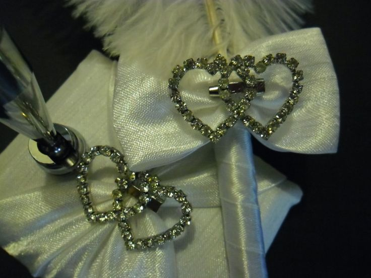 Quill (Feather Pen) with Diamante Hearts