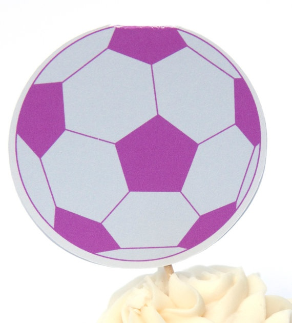 Pink Soccer Cupcake toppers
