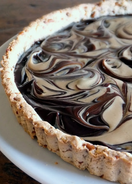 Sweet and Salty Pretzel Tart with Chocolate Ganache and Peanut Butter Swirl