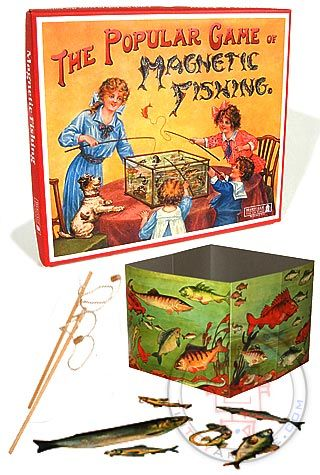 Magnetic Fishing Victorian Game : English Vintage Family Games : 1890