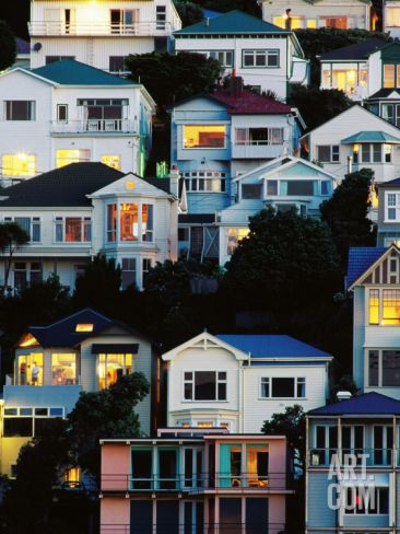 Tiered Bungalows and Villas at Oriental Bay, Wellington, New Zealand Photographic Print by Paul Kennedy at Art.com