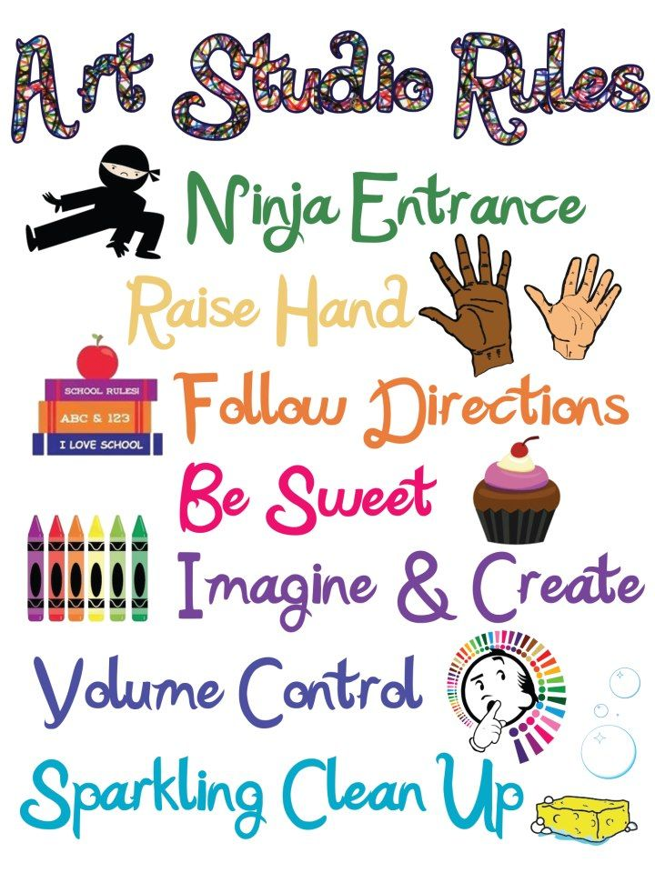 For elementary art. Rules that are simple with picture illustrations. I made this using photoshop and blended a few different ideas I've seen with my own ideas about classroom expectations. More