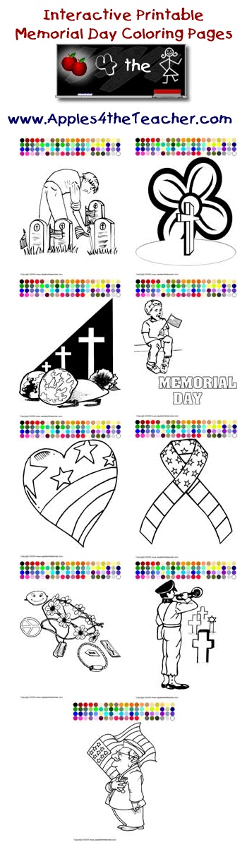 Printable interactive Memorial Day coloring pages, Memorial Day coloring pages for kids  http://www.apples4theteacher.com/coloring-pages/memorial-day/
