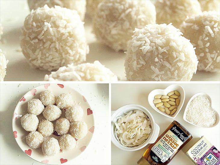 Healthy Rafaello Bonbons Recipe Desserts with coconut butter, shredded coconut, almonds, agave nectar, vanilla bean paste, shredded coconut
