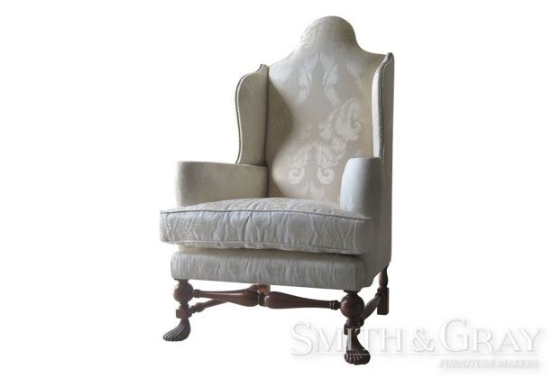 Antique reproduction high back armchair carved legs turned rails - See more at: www.smithandgray.com.au