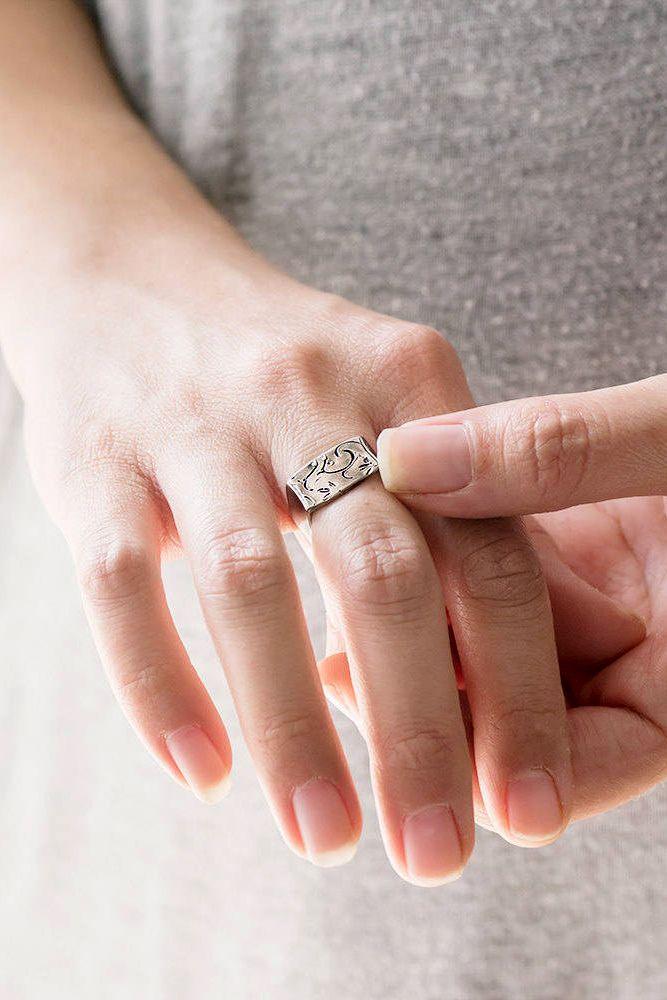 925 Sterling Silver Oxidised Infinity Leaf Stacking Ring Boho Romantic Elegant