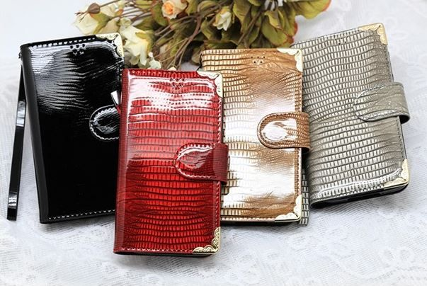 Lumiel Gold Snake Diary Wallet Case for LG F70