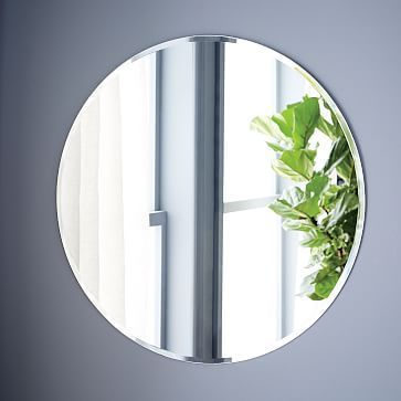 "Frameless Oversized Round Mirror #westelm 36"" w bevel $169"