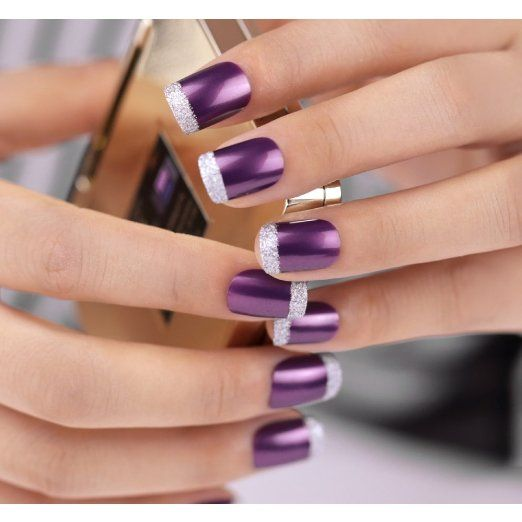 Bling Art False Nails French Manicure Purple 4 Joy Full Cover Medium Tips UK