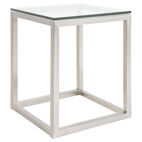 Side Table  CBD Square Side Table High  Brushed Nickel