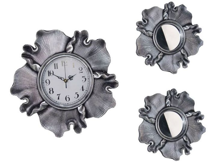 #reloj pared 3 pc con espejo economico plateado https://www.catayhome.es/categoria/relojes/
