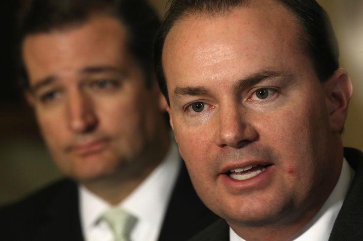 WASHINGTON, DC - SEPTEMBER 27:  U.S. Senator Ted Cruz (R-TX) (L) and Senator Mike Lee (R-UT) (R) speak to members of the media after a vote on the Senate floor September 27, 2013 on Capitol Hill in Washington, DC. The Senate has passed a continuing resolu