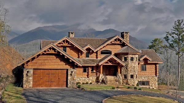 North Carolina Usa Mountain Luxury Log Stone Estate