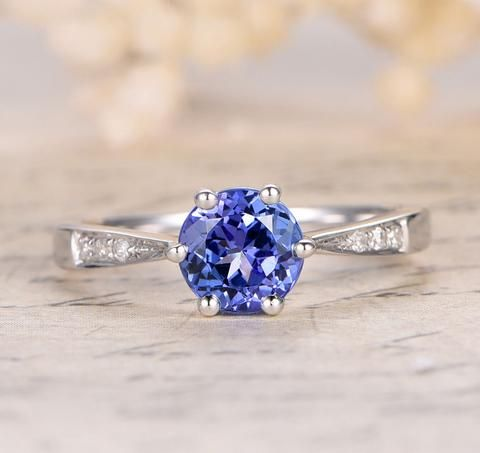 Round Tanzanite Engagement Ring Pave Diamond Wedding 14K White Gold 7mm