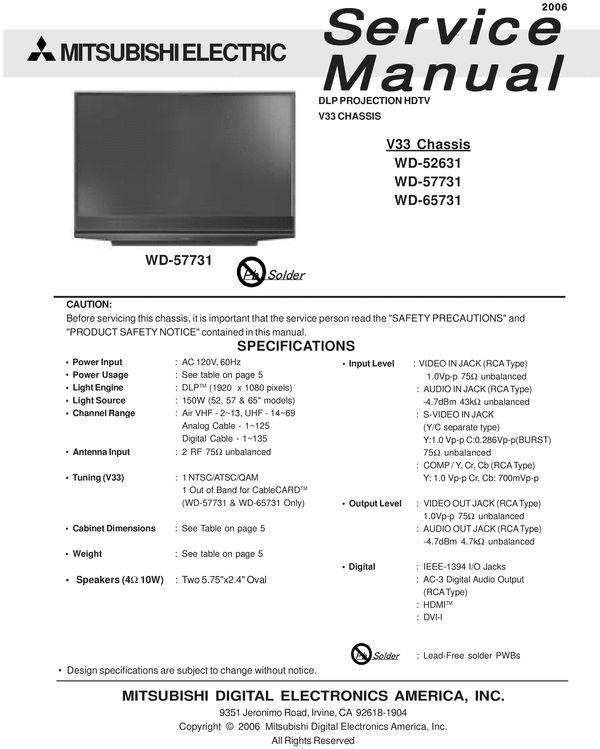 Mitsubishi WD-65731 , V33 chassis , DLP projection TV , Service Manual & Schematics  (no one DOWNLOAD