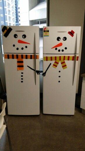 Twin snowmen on the fridges at my work