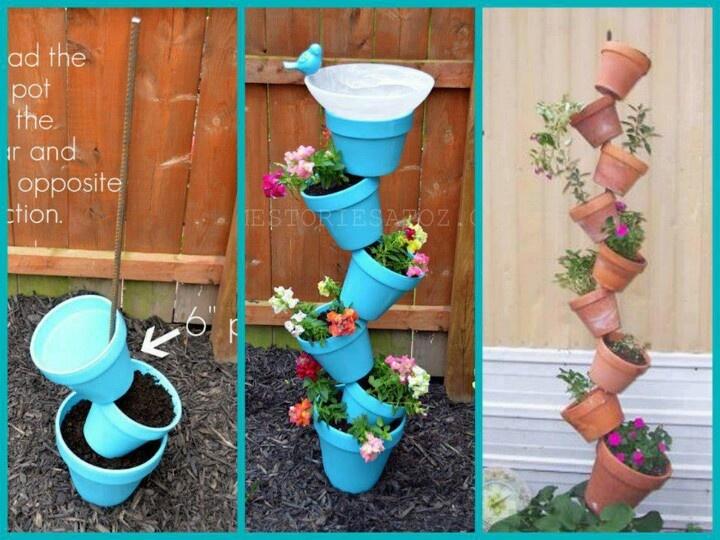 stacked flower pots gardening outside ideas