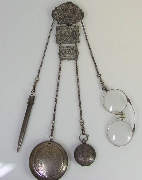 Antique Sterling Chatelaine- Coin Holder- Pencil- Glasses- Vinaigrette  amazing! I wonder if it clips...