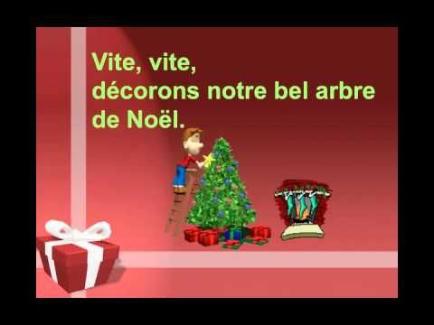 """Notre arbre de Noel"" from Matt Maxwell's CD for students of French ""Le Loup du Nord""--a song with some, but not a lot of, Christmas-related vocabulary (accompanied by adjectives that agree with the nouns, like ""etoiles argentees"").  The simple video provides clear illustrations of the key vocabulary with onscreen lyrics."