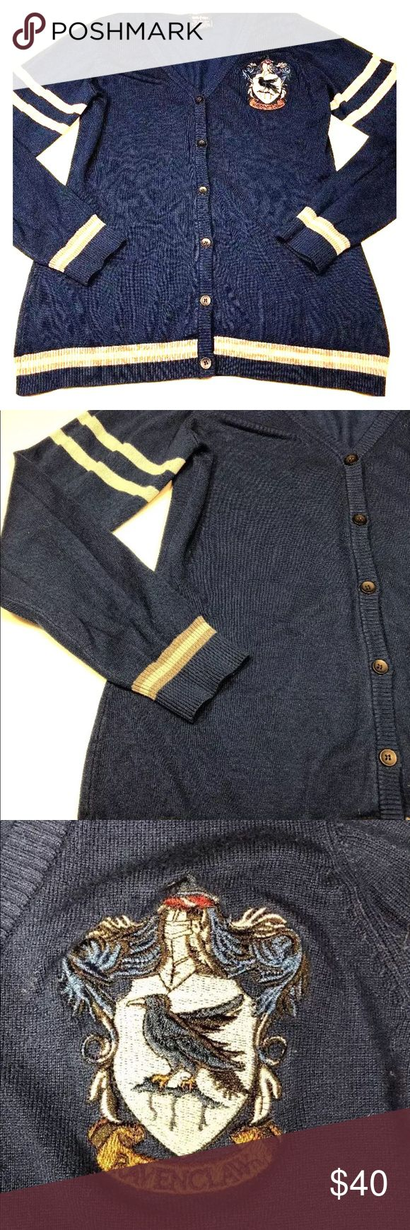 HARRY POTTER Ravenclaw Cardigan Sweater Blue XL 16 Good pre-owned condition. No obvious flaws---may be some slight pilling. Lighting in photos doesn't portray true colors--- sweater is a rich navy blue, and the bands are grey.   Womens Size XL (16). See photos for measurements. Harry Potter Sweaters Cardigans