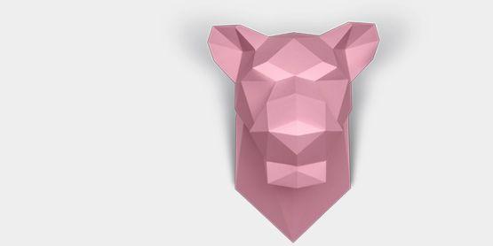 Бумажные скульптуры, головы животных из картона / Картонов
