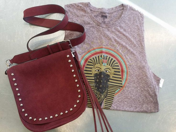 Festival season is quickly approaching, and #PlatosClosetBrampton has all your essentials – We've got #boho bags and cute tanks, and everything in between to have you hitting the festival circuit in style! //#RebeccaMinkoff suede purse, $95//#CrooksAndCastles tank, XS, $4// | www,platosclosetbrampton.com