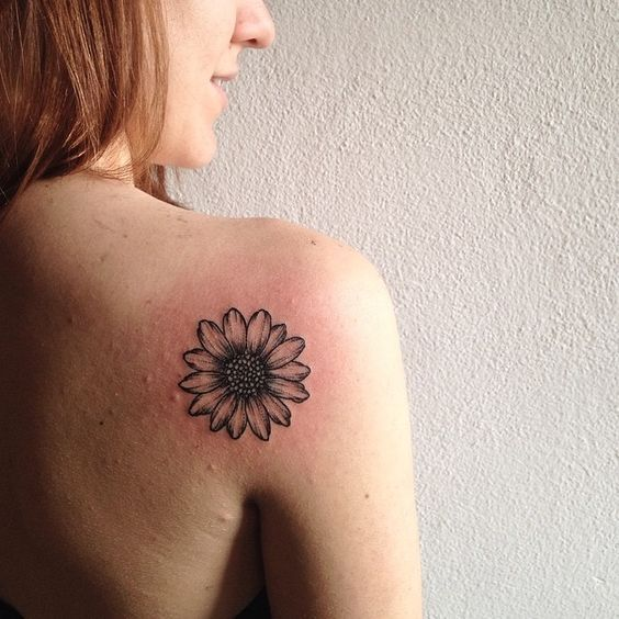 Daisy / Sunflower black outline tattoo
