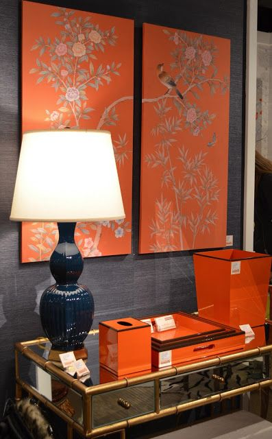 Lisa Mende Design: On Trend - Lacquer Furniture & Amy Howard Paints. I love the coral and elephant-gray grass cloth.