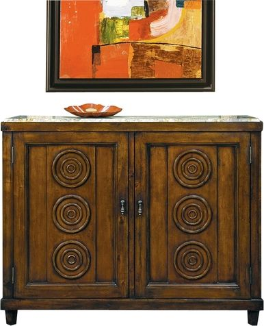 Side Cabinet FRENCH Paneled Doors Circular Moldings Inset Marble Top Cher PE-127