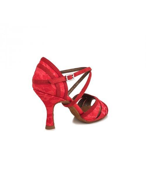 LUCÍA | ZAPATO DE BAILE DE MUJER EN RASO Y ENCAJE ROJO #zapatosdebaile #danceshoes #bachata #salsa #kizomba