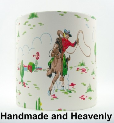 Lampshade Handmade with Cath Kidston Cowboys Cream Childrens Wallpaper