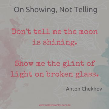 """Don't tell me the moon is shining. Show me the glint of light on broken glass"" -Anton Chekhov #writing #advice"