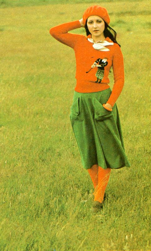 """Photos by Bill Klein. Petticoat, November 1974. Skirt by Left Bank. Sweater by John Craig. Beret by Kangol. Scarf from """"208″ SW10. Shoes by Saxone"""