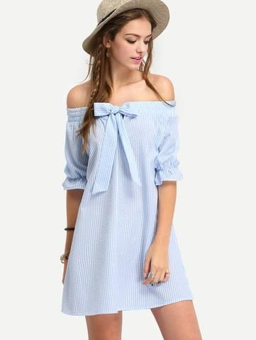 Striped Bow Off The Shoulder Dress