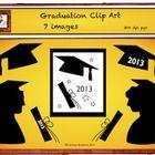 This Free Graduation clip art includes 7 items in black silhouettes.  Cap Cap 2013 Diploma Diploma 2013 Girl Graduate Boy Graduate Poster  Congratu...