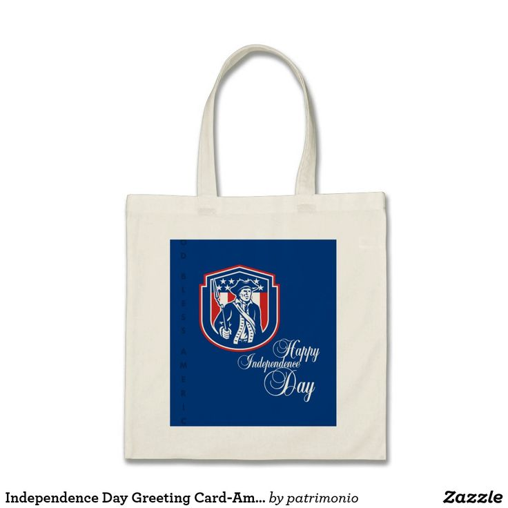 Independence Day Greeting Card-American Patriot Ho. Tote bag with an illustration of an American patriot holding a rifle set inside a shield with stars and stripes in the background done in retro style. #IndependenceDay #4thofJuly #totebag