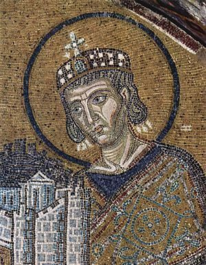 Mosaics in the Hagia Sophia, section: Maria as patron saint of Istanbul, detail: Emperor Constantine I with a model of the city